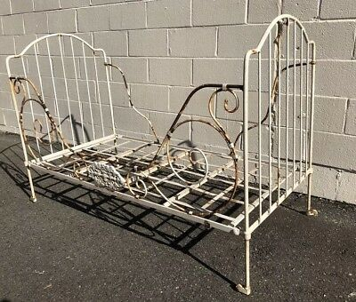 Antique 19c French Iron Campaign Bed folding Daybed Shabby Chic Garden Couch