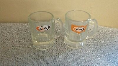 "2 Vintage A&W Root Beer Mugs 3 1/4"" Rare U.S. Map Logo Oval Logo Lot Of 2"