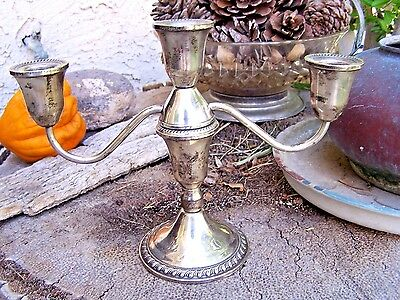 Duchin sterling silver .925  weighted  two arm candlestick holder