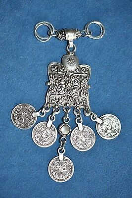 Old Vintage Persian Iraqi Middle Eastern Dangle Coin Pendant Necklace Tribal