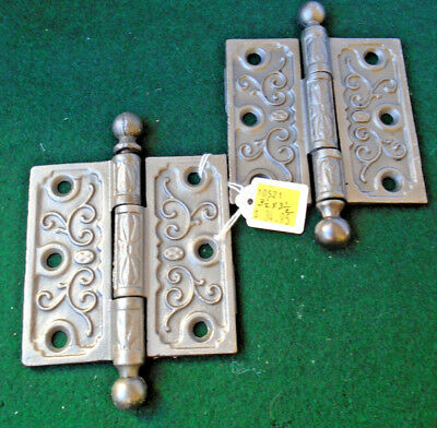 "CIRCA 1870 3 1/2"" x 3 1/2"" EASTLAKE HINGE SET - VERY CLEAN  (10521)"