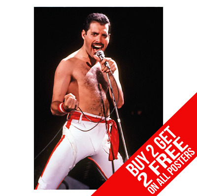 Freddie Mercury Queen Bb0 Poster A4 A3 Size Print - Buy 2 Get Any 2 Free