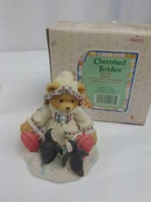 Cherished Teddies Collectible Kristen Figurine Bear Playing With Penguins