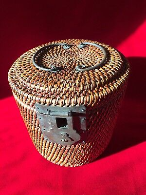 Antique Chinese Weaved Basket Tea Caddy with Iron Hardware