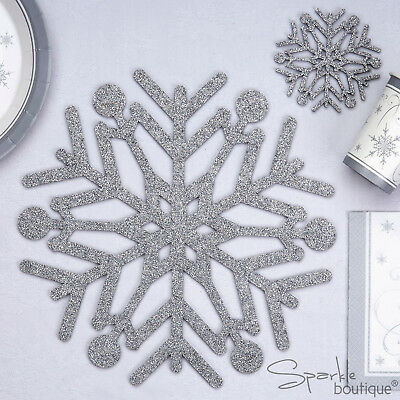 4 x SNOWFLAKE PLACE MATS / COASTERS - Silver Glitter Christmas Party / Wedding
