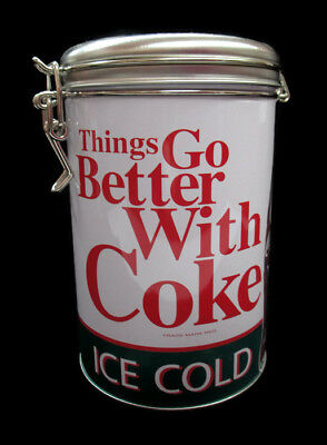 Coca-Cola Round Tin Canister Latching Lid Things Go Better With Coke