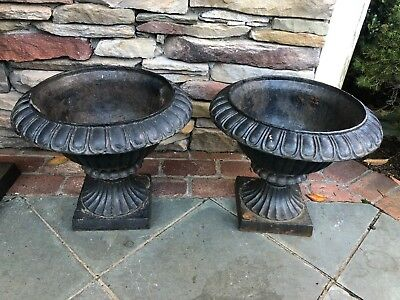 HTF Antique Old Vintage French Cast Pair Of Cast Iron Planters Urns Urn Garden