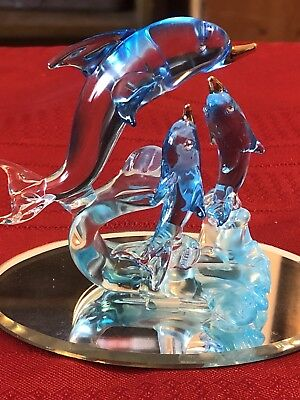 Small Glass Blue Dolphins On Stand With Mirror Base