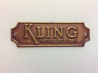 Vintage Brass Kling Mayville Ny Furniture Tag Plate
