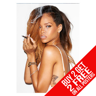 Rihanna Smoking Cigarette Poster A4 A3 Size Perfume Print - Buy 2 Get Any 2 Free