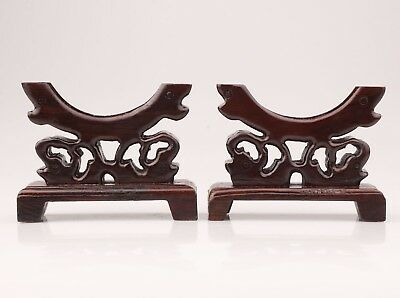 2 High-Class Wood Pedestal Stand Base Round Plates Decorated Old Hand Carved