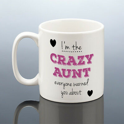 CRAZY AUNT MUG Auntie Birthday Aunts Mothers Day Gift Aunty Cup Best