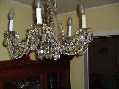 FRENCH 1940s Chandelier, Crystal and Bronze or Brass VINTAGE