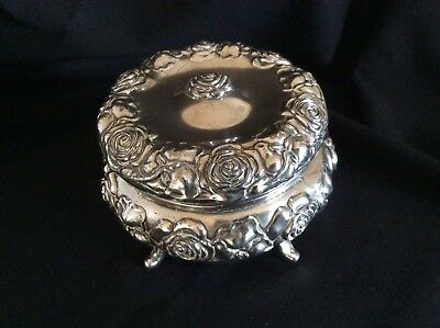 Antique Art Nouveau Roses Silver Plated Round Trinket Casket (Jennings Brothers)