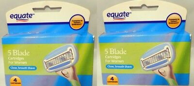 2 x Equate 5 Blade Razor Cartridges For Women,4 Cartridges