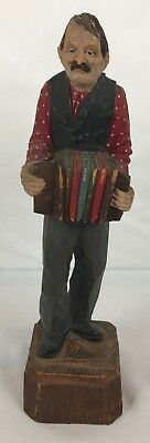 Vintage Italian Hand Carved And Painted Musician Accordion Player Wood