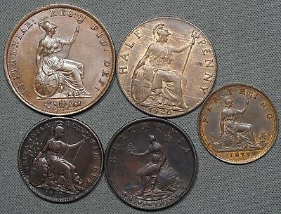 Lot of (5) 1799 - 1820 Great Britain Copper Coins, High Grade