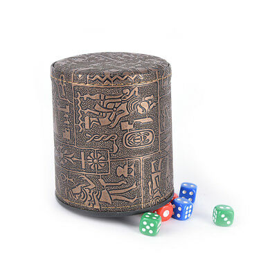 1 pc High Quality Brown Leather Rune Dice Cup PU leather 82x82x91m Ko