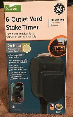 GE 15107 Outdoor 24-Hour 6-Outlet Yard Stake Timer(N5)