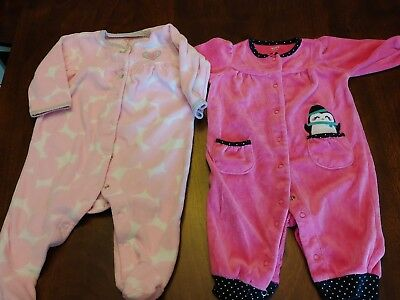 f96d5c4ea CARTER S BABY GIRL Pajamas 0-3 Months Fleece Footed One Piece ...