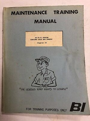 Braniff Intl.Dc-8-62 Maint.Training Manual Landing Gear & Brakes 1967 Original