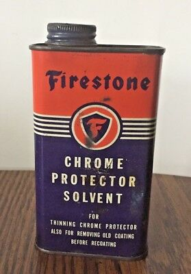 Vntg FIRESTONE CHROME PROTECTOR SOLVENT CAN THE FIRESTONE TIRE & RUBBER CO AKRON