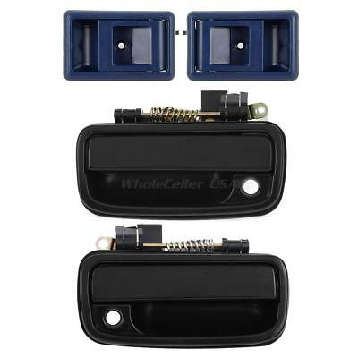 4 Front Blue Inside Left Right & Black Outer Door Handle For 95-00 Toyota Tacoma