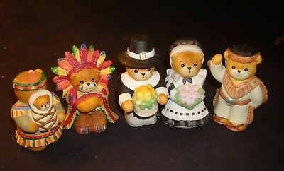 5 Ensco, Lucy and Me  Pilgrim Bears, Indians, Thanksgiving Collectibles