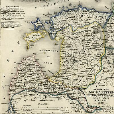 Russia Estonia St Petersburg Finland Ladoga Sea 2 City Insets 1849 detailed map
