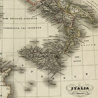 Europe Southern Italy Sicily Sicilia Sardegna Apulia c.1850 detailed map