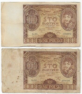 Poland Pair 100 Zlotych 1934 Free Shipping