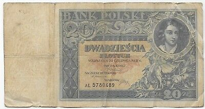 Poland 20 Zlotych 1931 Free Shipping