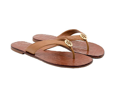 8430572f4c4f96 Tory Burch NEW Thora Tan Tumbled Leather Flat Thong Leather Sandal Auth Size  8