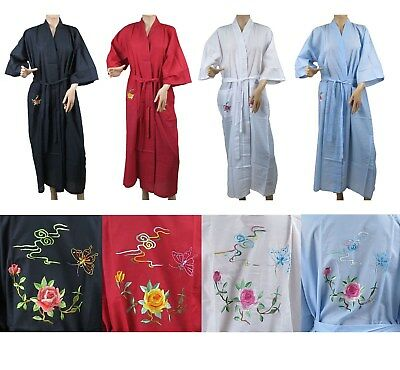 Traditional Chinese Embroidered Floral Butterfly Kimono Robe Top S-L New
