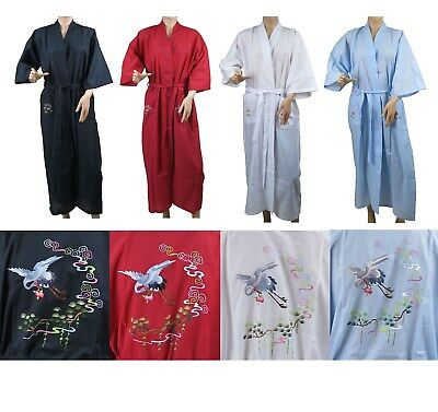 Traditional Chinese Embroidered Floral Crane Kimono Robe Top Size S-L New