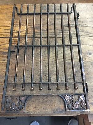 Antique Bank Teller Iron Hit & Miss Copper Window Grate Ornate With Lock