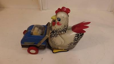 vintage 1960's hen and cart battery operated tin toy ,made in china ME 603