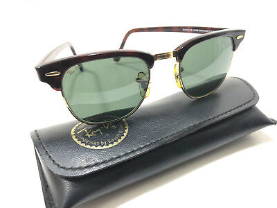 Vintage Ray Ban Tortoise Clubmaster Sunglasses Bausch & Lomb And Case USA W0366