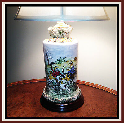 Sonnett Hand Painted Ceramic FOX Lamp ~ Huntsman & His Lady Ride on the Hounds!