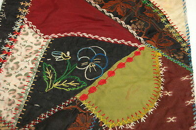 Antique Crazy Quilt Section Embroidered Detailed Stitching Study C8