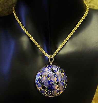 Vintage Necklace Cloisonne Pendant Violet Flower Design Large Round Exc 1118