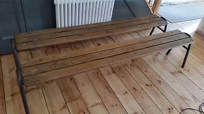 Original Antique Vintage Industrial French School Benches matching pair