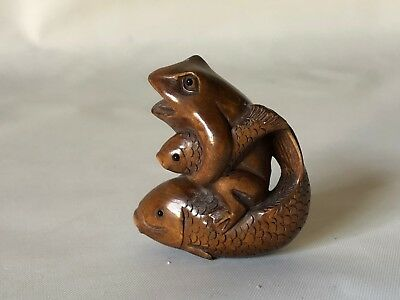 "Vintage Hand Carved Wood Japanese Frog Sitting on Fish Netsuke 1.75"" Signed"