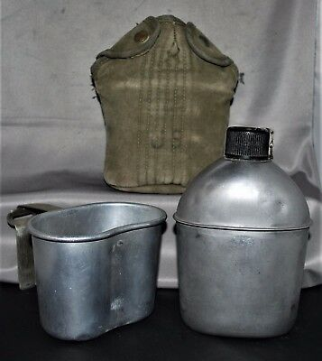 WW2 1941 1943 US ARMY CANTEEN CUP and COVER SET