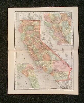Vintage Original Map 1897 California, Eaton & Mains