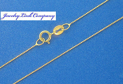 """14K Solid Yellow Gold 0.55mm Box Chain w/ Spring Ring 16"""" 0.7grams  Italian made"""