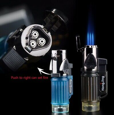 1pc Adjustable Butane Lighter Windproof Triple Torch Cigarette Gas Fuel Flame
