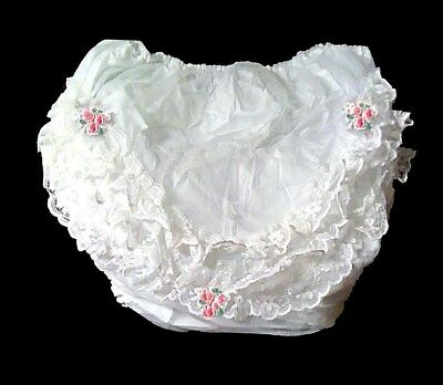 Vtg Nylon Lacy Frilly Waterproof Pvc Baby Or Reborn Pants Nappy Diaper Cover Xl