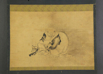 """JAPANESE HANGING SCROLL ART Painting """"Hotei"""" Kano School Asian antique  #E4711"""