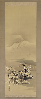 """JAPANESE HANGING SCROLL ART Painting Scenery """"Snowy Mountain and River""""  #E4736"""